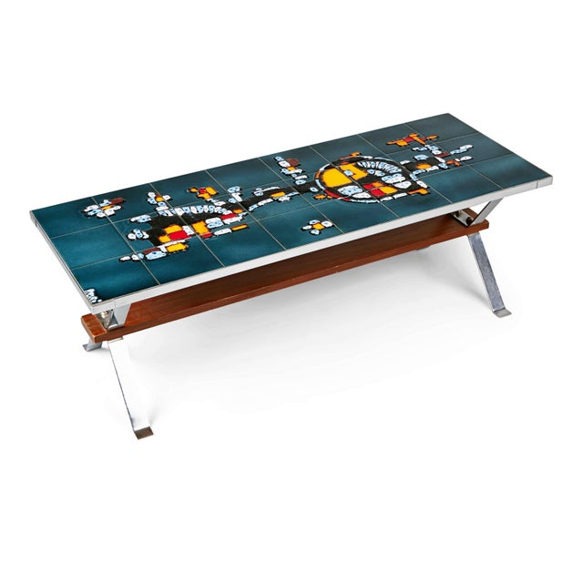 1960s Italian Chrome and Ceramic Tile Top Coffee Table, Signed For Sale In Los Angeles - Image 6 of 11