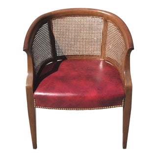 1970's Vintage Wood Leather & Cane Curved Back Accent Club Chair For Sale