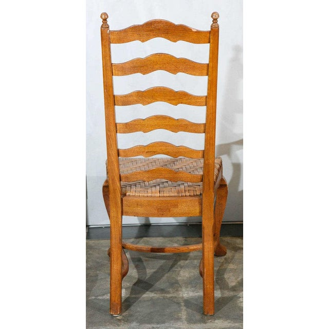 Oak Ladder Back Dining Chairs - Set of 6 For Sale - Image 7 of 9
