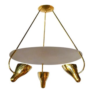 Lightolier 1950s Three- Arms Brass Chandelier by Gerald Thurston For Sale