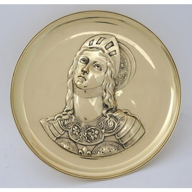 """Antique 19C """"Joan of Arc"""" Bas Relief Tazza compote dish Bronze Doré from a Palm Beach estate. Has been professionally..."""