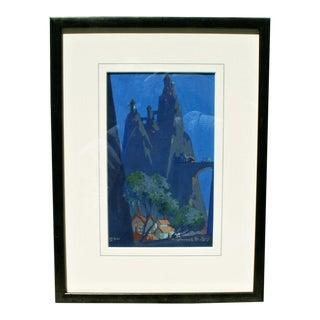 "1930s ""Fantasy Twilight Scene"" Goauche Painting"