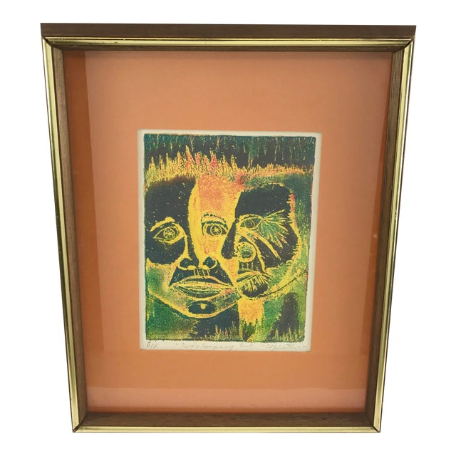 Vintage 1974 Framed A/P Relief Print Portrait by Ed Goldstein For Sale
