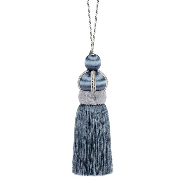 """Slate Blue Key Tassel With Cut Ruche -Tassel Height - 5.75"""" For Sale - Image 4 of 4"""