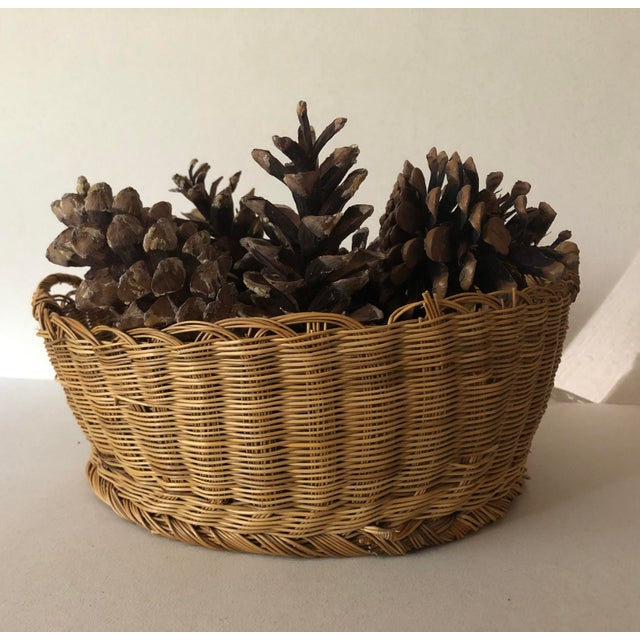 Wood Antique Basket With Handles For Sale - Image 7 of 8