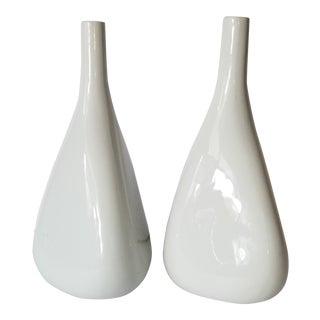 Modern Style White Vases - a Pair