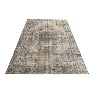 1960s Art Nouveau Distressed Wool Floor Rug For Sale