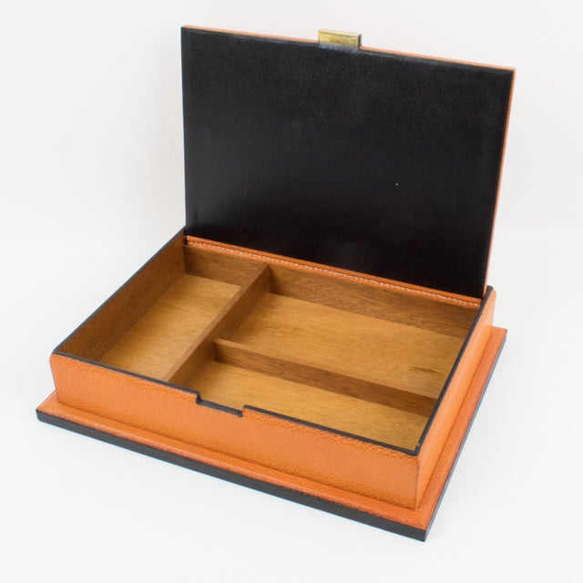 Amber Longchamp Hand-Stitched Leather Box For Sale - Image 8 of 13