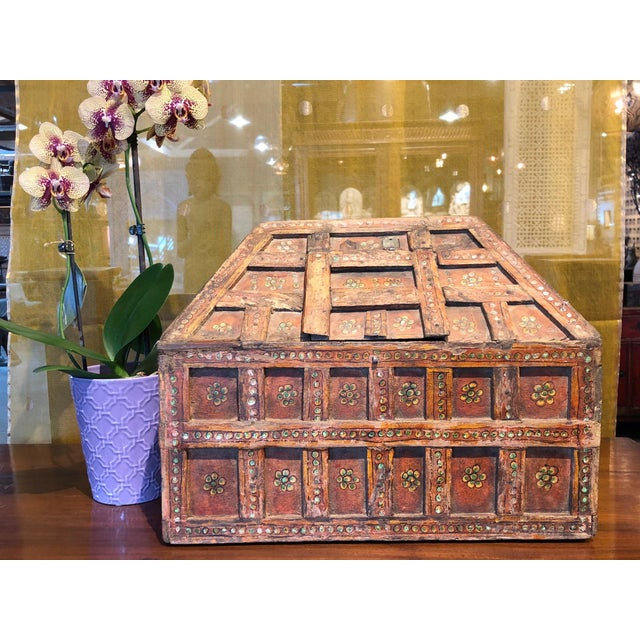 Rustic Small Teak Dowry Chest For Sale - Image 3 of 8