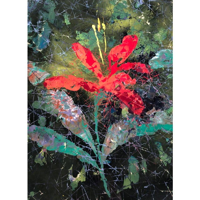 """Italian Fontana Arte """"Red Lily"""" Center Piece or Wall Decoration by Dube' For Sale - Image 3 of 6"""