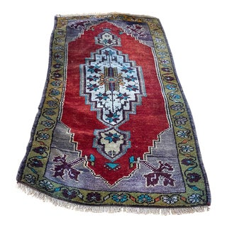 Turkish Vintage Handknotted Doormat For Sale