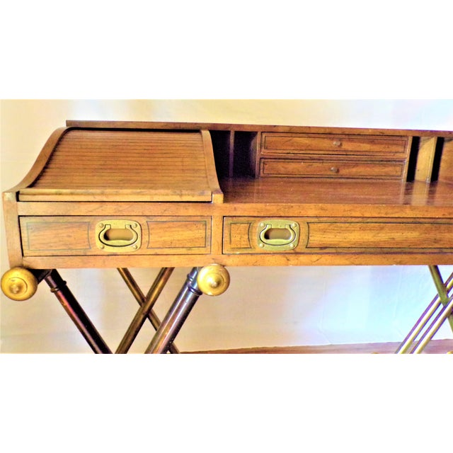 Wood Oxford Square by Drexel Faux Brass Leg Campaign Style Tambour Roll Top Desk For Sale - Image 7 of 13