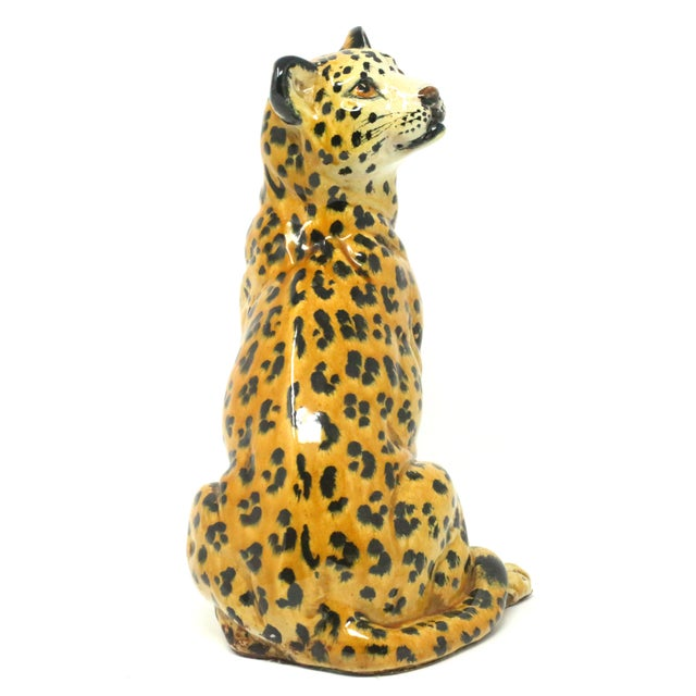 Orange Vintage Italian Cheetah Hand-Painted Majolica Ceramic Leopard Figure For Sale - Image 8 of 12
