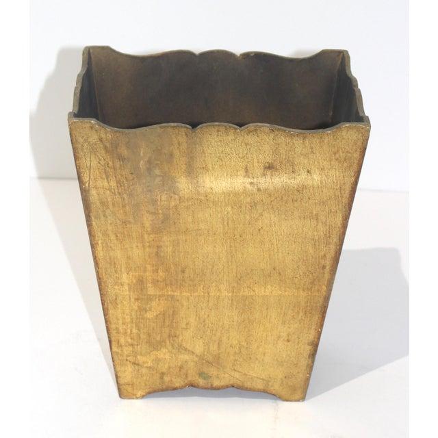 1950s Mid-Century Florentine Giltwood Wastebasket Gilt Wood For Sale - Image 5 of 11