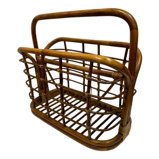 1960s Large Rattan Oval Magazine Rack For Sale