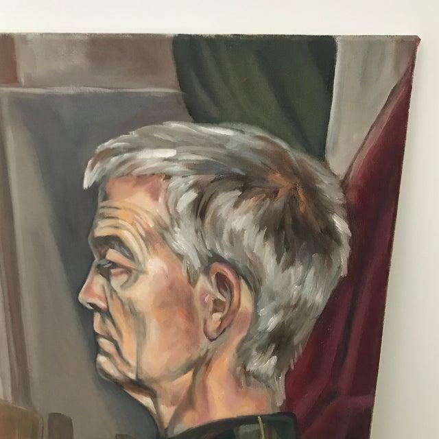 Oil portrait of older gentleman in plaid shirt.