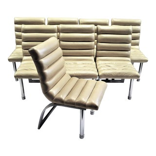 """1986 Jay Spectre Century for Bloomingdale's Modern """" Eclipse """" Leather Dining Chairs - Set of 8"""
