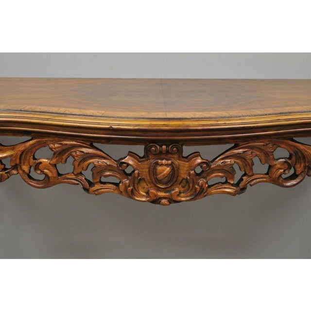 Early 20th Century 20th Century French Louis XV Carved Walnut Banded Console Table For Sale - Image 5 of 11