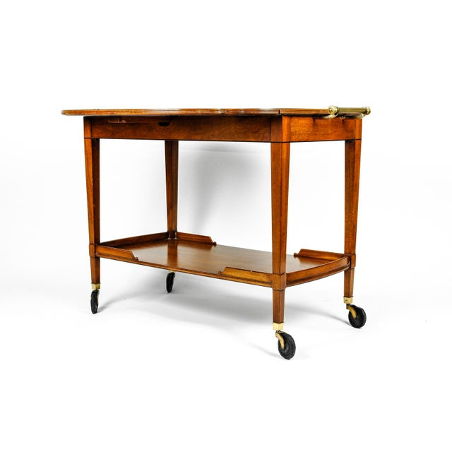 Mid-20th Century Satinwood Mahogany Bar Cart or Tea Trolly For Sale - Image 4 of 13
