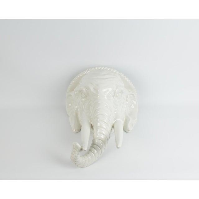 Large sized Italian white ceramic elephant sconce/ wall shelf. Beautiful crazed finish on white glazed ceramic. Perfect...