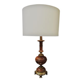 Mid-Century Wood & Lacquered Brass Finish Lamp With Oversized Linen Drum Shade For Sale