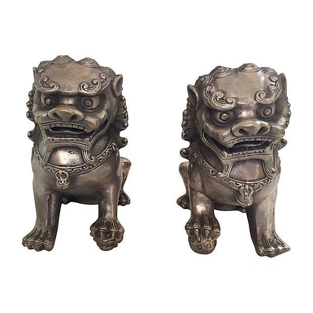 Silver Foo Dog Statues - Pair - Image 1 of 6