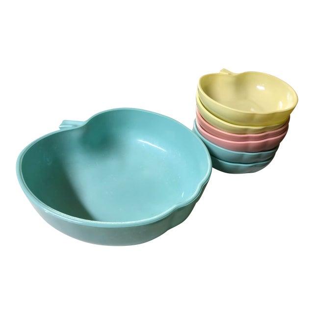 1960's Hazel-Atlas Milk Glass Apple Bowls - Set of 7 For Sale
