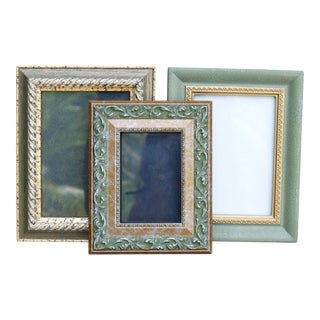 Green & Gold Picture Frames, Set of 3 For Sale