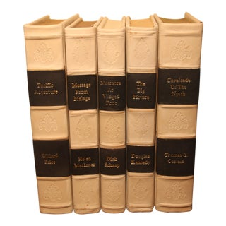 Traditional Leather Bound Books - Set of 5 For Sale