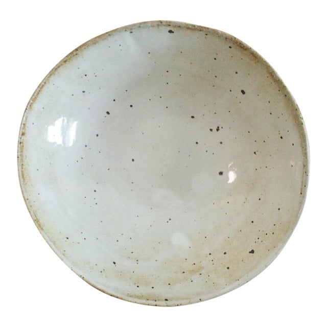 Boho Chic Speckled Stoneware Soup Bowl For Sale