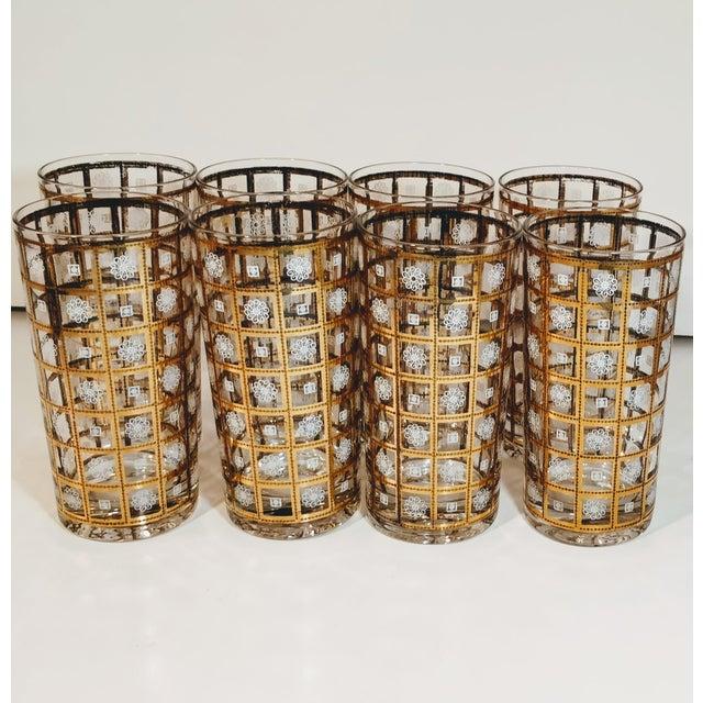 Boho Chic Vintage Gold Highballs Glasses Barware Bar Geometric Floral White - Set 8 For Sale - Image 3 of 8