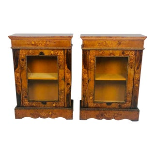 Pair of Burl Walnut Bookcases, England Circa 1850 For Sale