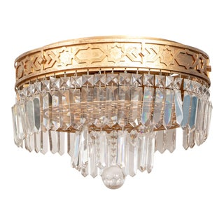 Art Deco Double-Tiered Gilt Brass and Crystal Wedding Cake Flush Mount Light Fixture For Sale