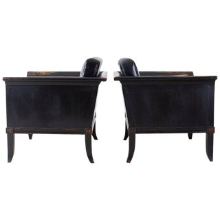 Pair of Neoclassical Style Oak Lacquered Cube Chairs For Sale