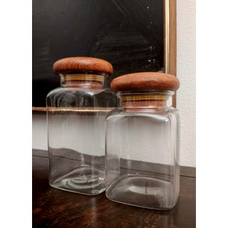 Danish Modern Teak Lidded Storage Jars, Set of 2 Preview