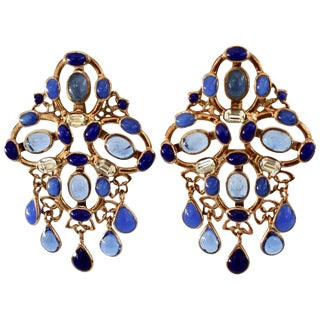 Gripoix Plumetis Clip Drop Earrings For Sale
