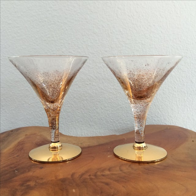 Gorgeous gold speckled pair of glasses. Very similar to Dorothy Thorpe, though not signed. Perfect as champagne or cordial...