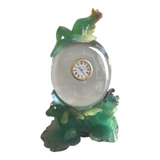 """Daum Crystal Clock """"The Frog With Golden Eyes"""""""