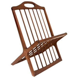 Arthur Umanoff American Mid-Century Modern Solid Walnut Magazine Rack For Sale
