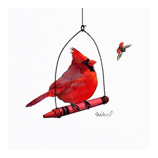 Perched Red Cardinal Giclee Print
