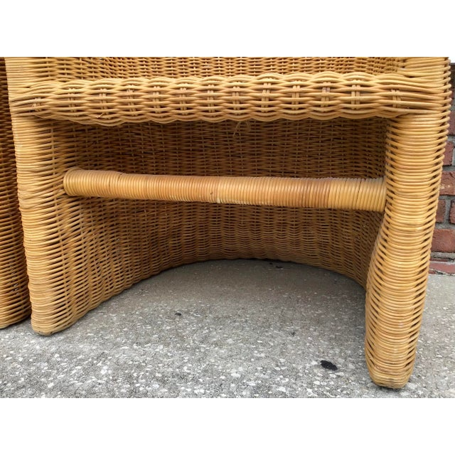 Wood Moderne Rattan Barrel Chairs - a Pair For Sale - Image 7 of 11