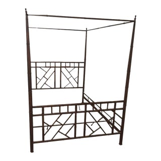 Vintage Chinese Chippendale Faux Bamboo Metal King-Size Canopy Bed For Sale
