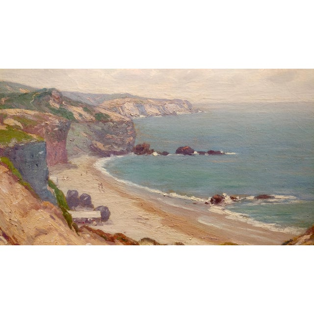 Charles L A Smith-Point Dume,Malibu c.1920s-California impressionist-Oil Painting For Sale - Image 4 of 10