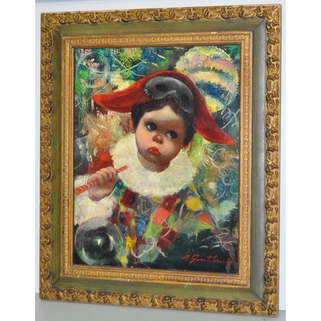 Mid Century Harlequin Painting by listed Italian artist Armando Gentilini (1908-1981). This beautiful doe-eyed Harlequin...