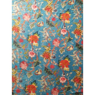 7 Yards Blue Floral Chinoiseri Velvet For Sale