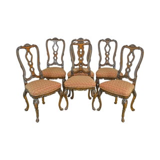 Rococo Style Carved Walnut Set of 6 Vintage Dining Chairs For Sale