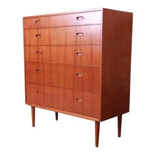 Falster Danish Modern Teak Highboy Dresser, Newly Restored For Sale