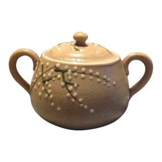 Handcrafted Asian Ceramic Sugar Jar With Handles For Sale