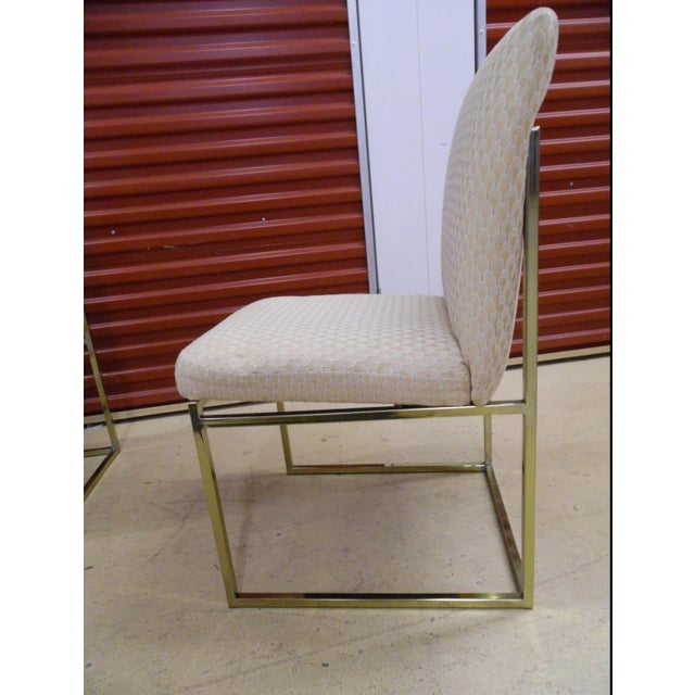 Milo Baughman-Style Brass Dining Chairs - Pair - Image 6 of 6