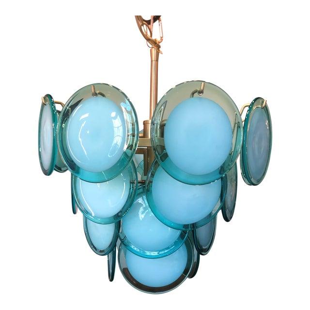 Regina Andrew Design Natural Brass and Aqua Four-Light Chandelier For Sale